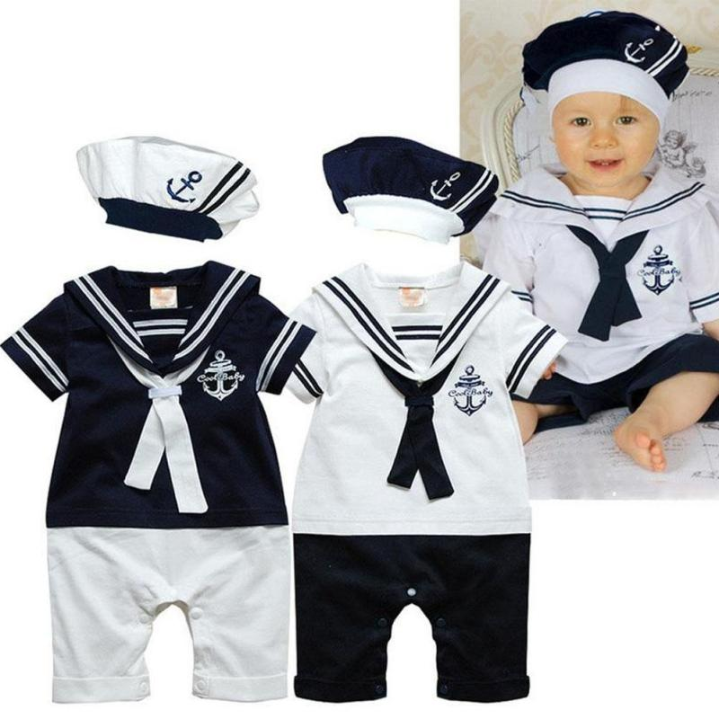 Newborn baby clothes White Navy Sailor uniforms summer baby rompers Short sleeve one-pieces jumpsuit baby boy girl clothing XV3 summer style short sleeve baby gentleman tie rompers love mama papa jumpsuit baby boys girls costume jeans newborn baby clothes