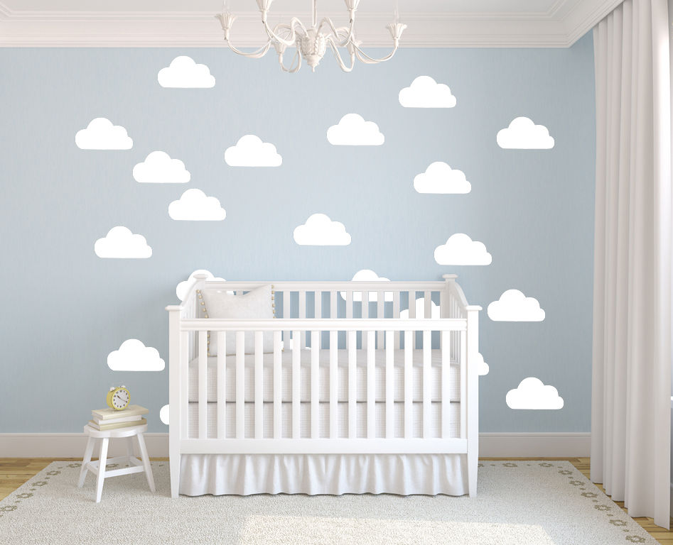 50 Pcs / set Awan Putih Stiker Dinding Removable DIY Vinyl Wall Art Decal Mural Untuk Kamar Anak-anak Nursery Wallpaper D367