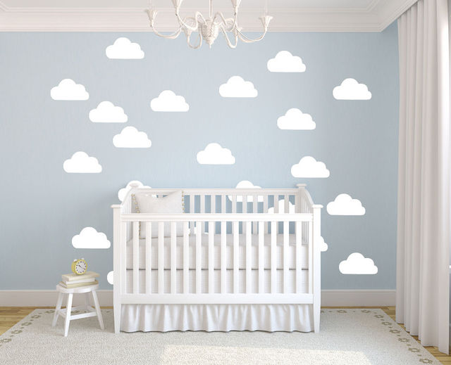 50Pcs/set White Clouds Wall Stickers Removable DIY Vinyl Baby Wall Art  Decal Mural For