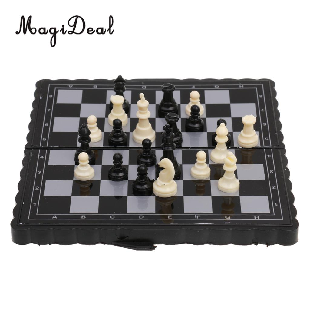 MagiDeal New 1Pc Antique Plastic International Chess Set Mini Portable Magnetic Folding board Classic Camping Game Toy Kid Gift