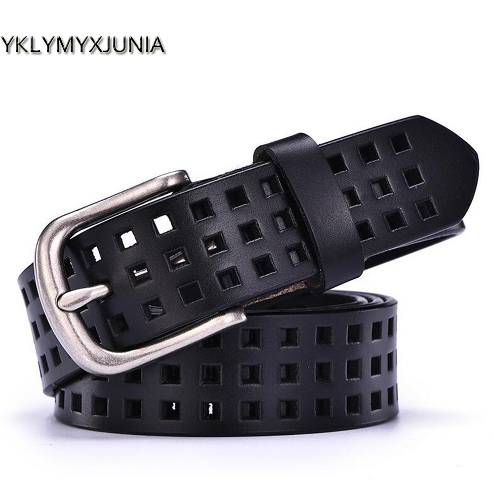 Fashion Women Leather Belts New Female Hollow Out Belt 2019 Cow Leather Designer Belt Women Les femmes derme ceinture