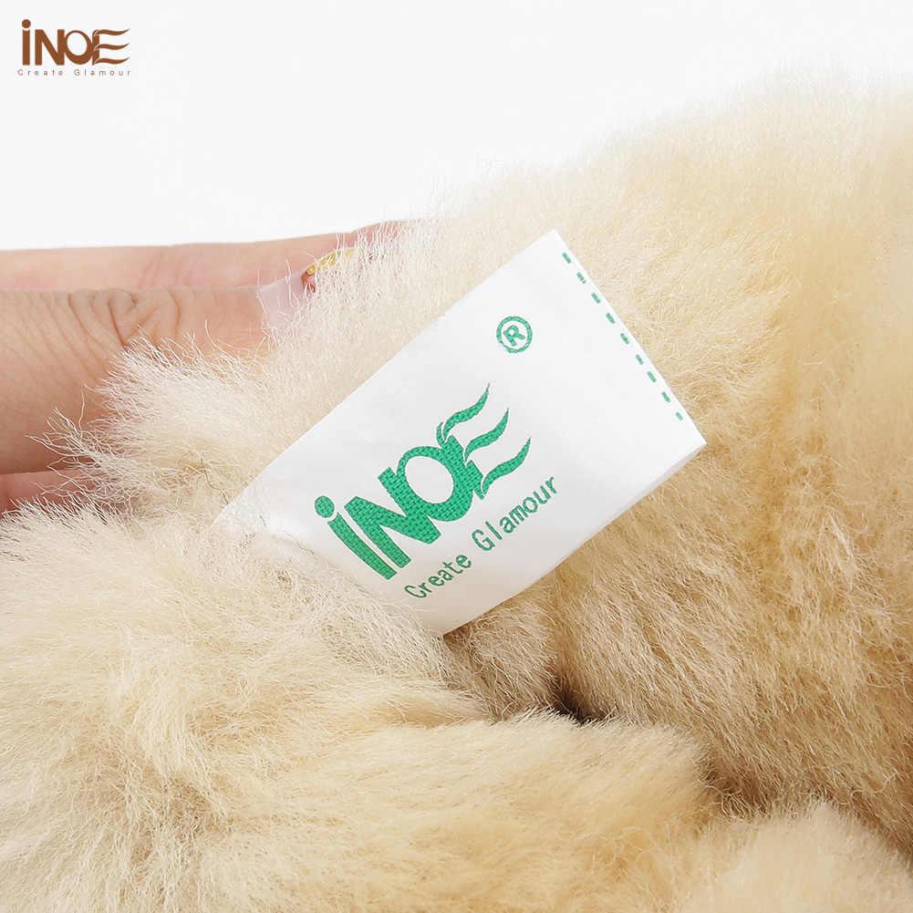 INOE קלאסי הברך גבוהה כבש זמש עור צמר פרווה Shearling מרופד חורף מגפי נשים שלג מגפי נעלי חום שחור אדום