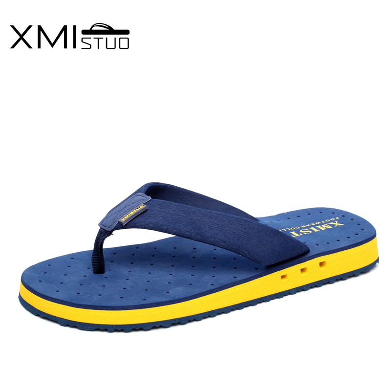 XMISTUO Summer Korean big size Tide Slippers Men Non-slip Cool Flip-Flops Breathable Thick-soled Sandals Slippers Toe Sandals(China)