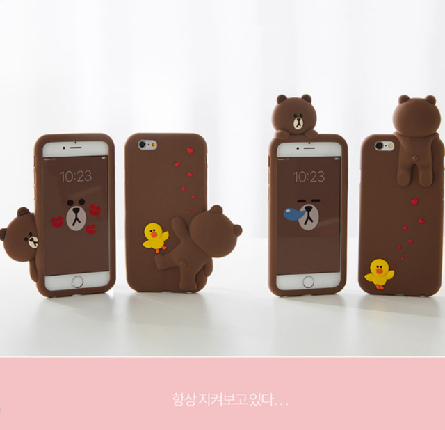 uk availability b66cd e0a1f PopUp Line Friends Brown iPhone Cases For X 7 8 6 S Plus