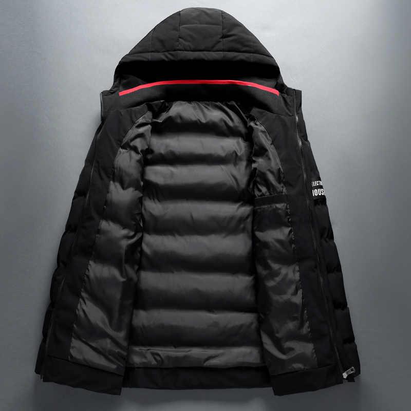 2018 ブランド冬のジャケットの男性のフード付きコートファッションカジュアルダウンパーカー男性ジャケットとコートパーカー上着 4XL