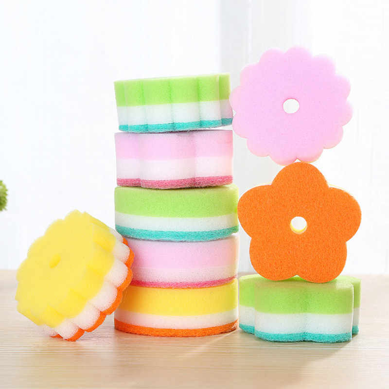 Sponges Scouring Pads 5pcs Flower Shape Sponge Brush Tableware Glass Wash Dishes Sponge Kitchen Home Cleaning Tool x