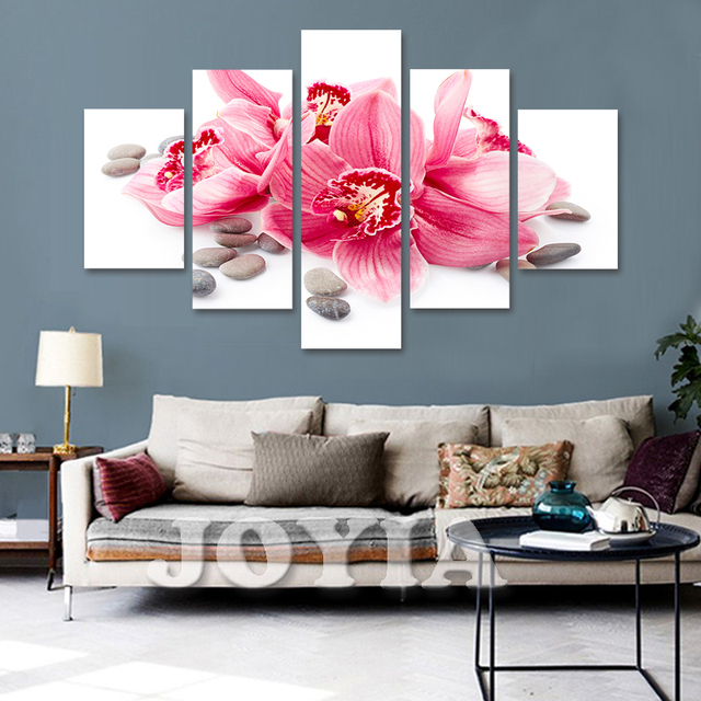5 Piece Canvas Art Flower Wall Painting Red Lily Prints Home Decor Pictures Set