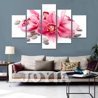 5 unidades Flor del arte de la lona pared lirio rojo pintura impresiones de la lona, decoración casera, dormitorio pared No Frame