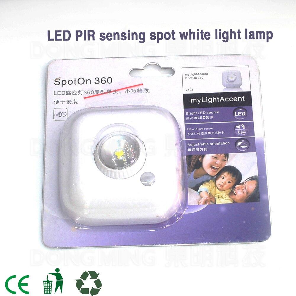 20 pcs/lot motion sensor light led sensor lamp indoor PIR human body AUTO sensing light spot 360 powered by 3*AAA battery