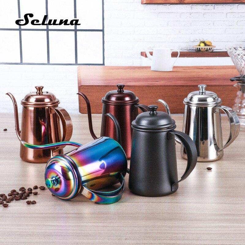 Acero inoxidable olla de café 650 ml boca larga gooseneck ollas goteo Cafeteras jarras tetera cafetera para barista