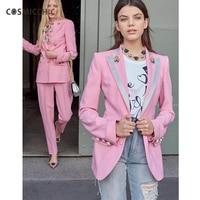 Cosmicchic Haute Couture Women Pink Blazer Rose Print Silk Lining Long Sleeve Jacket Rose Button Designer