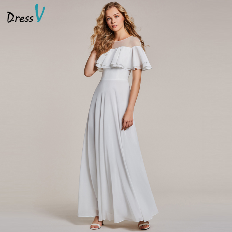 Dressv White Evening Dress Cheap Scoop Neck Short Sleeves Floor Length A Line Ruffles Wedding Party Formal Dress Evening Dresses