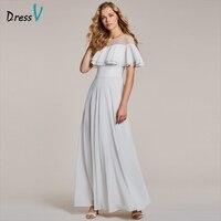 Dressv biała suknia wieczorowa tanie wycięciem krótkie rękawy piętro długość linii ruffles wedding party formalna suknia suknie wieczorowe