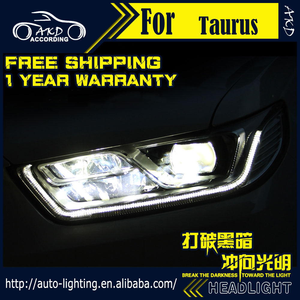 Car styling head lamp for ford taurus headlights 2016 taurus led headlight drl daytime running light bi xenon hid accessories in car light assembly from