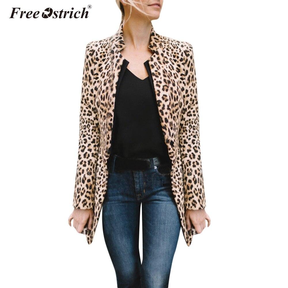 Free Ostrich jacket women autumn Stand collar Leopard printed chamarras de mujer manteau femme casaco feminino harajuku N30 jeans con blazer mujer