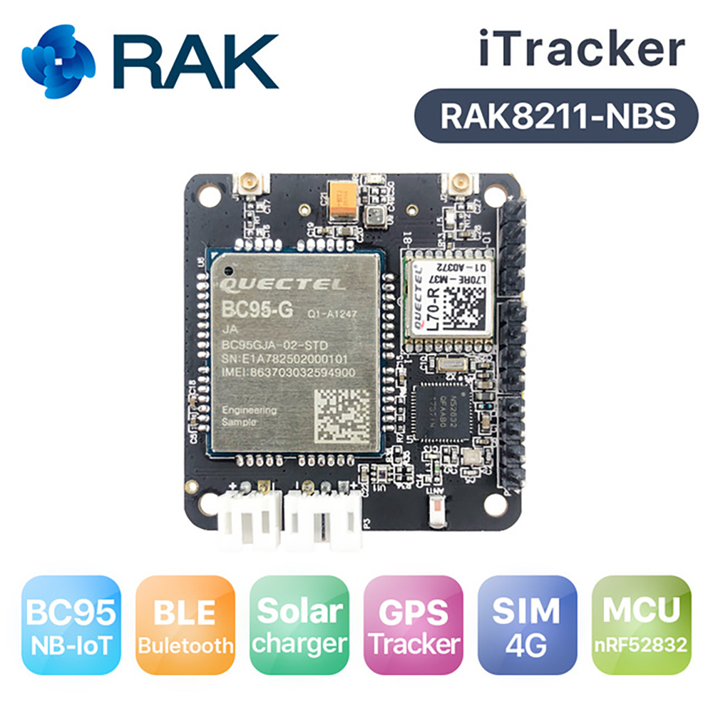 NB-IoT Bluetooth 5 ITracker Module With Quectel BC95, Sensor Node GPS Tracker Module Solar Charger Support Global Band Q190
