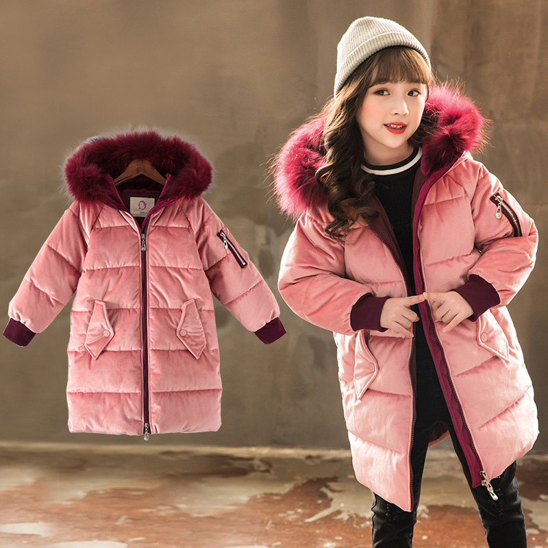 Girls Winter Jacket 2018 New Children Girls Clothes Thick Warm Real Fur Collar Hooded Long Parka Coats For Kids Outercoat RT260 цена