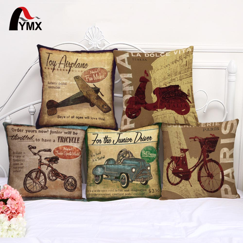 Retro Conveyance Cotton Linen Cushion Cover Car Bedroom Sofa Cushion Cover Pillowcase Airplan Bike Images Printing Pillow Case