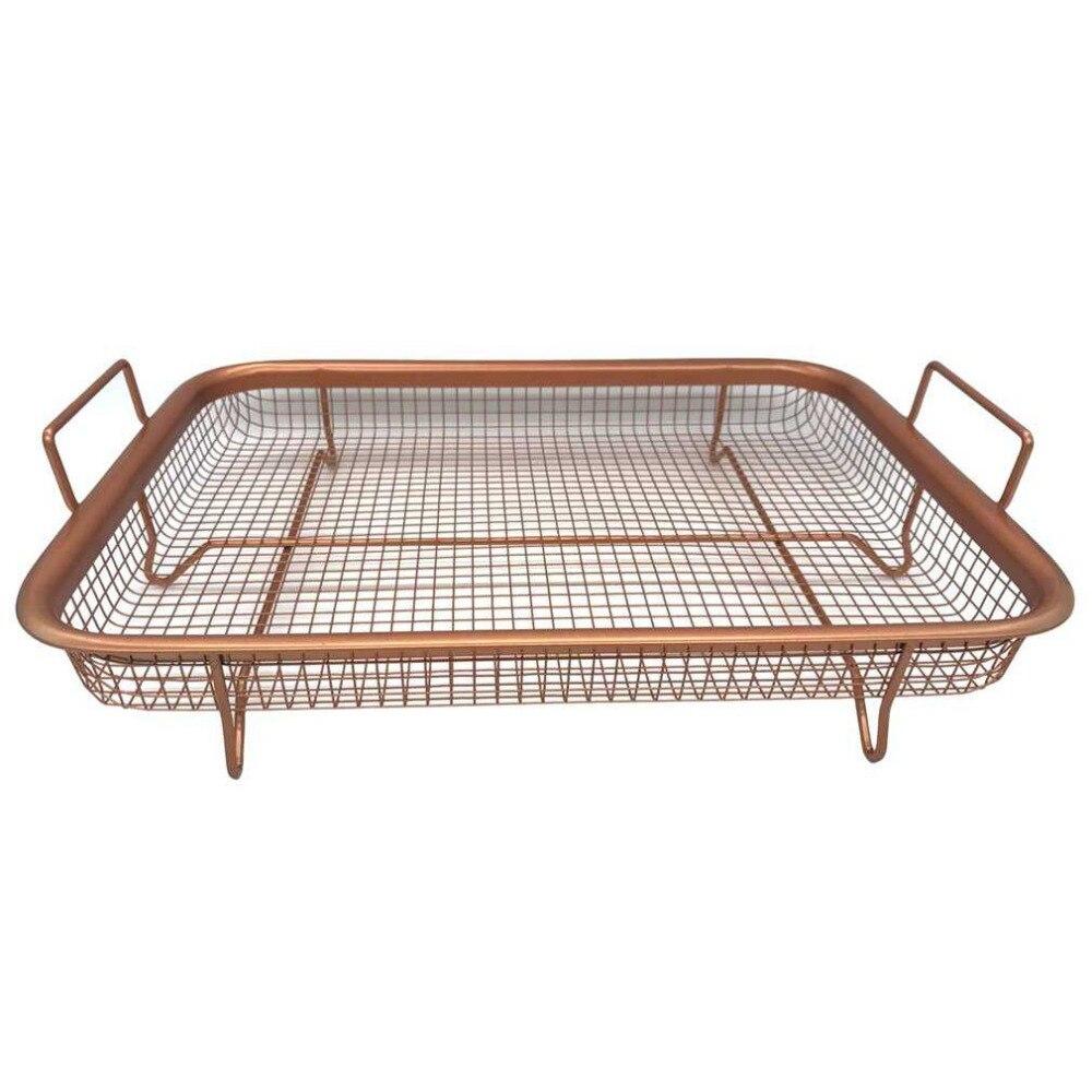 1PC Ceramic Copper Crisper Copper Food Frying Basket Oil Filter Easy Grip Handles Oil Frying Basket And Tray 30*22.5cm