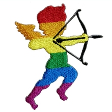 1Pcs New Arrival Cute LGBT Gay Pride Rainbow Cupid Icon of Love Valentines Day Bags Jeans Jackets Embroidered Iron on Patch