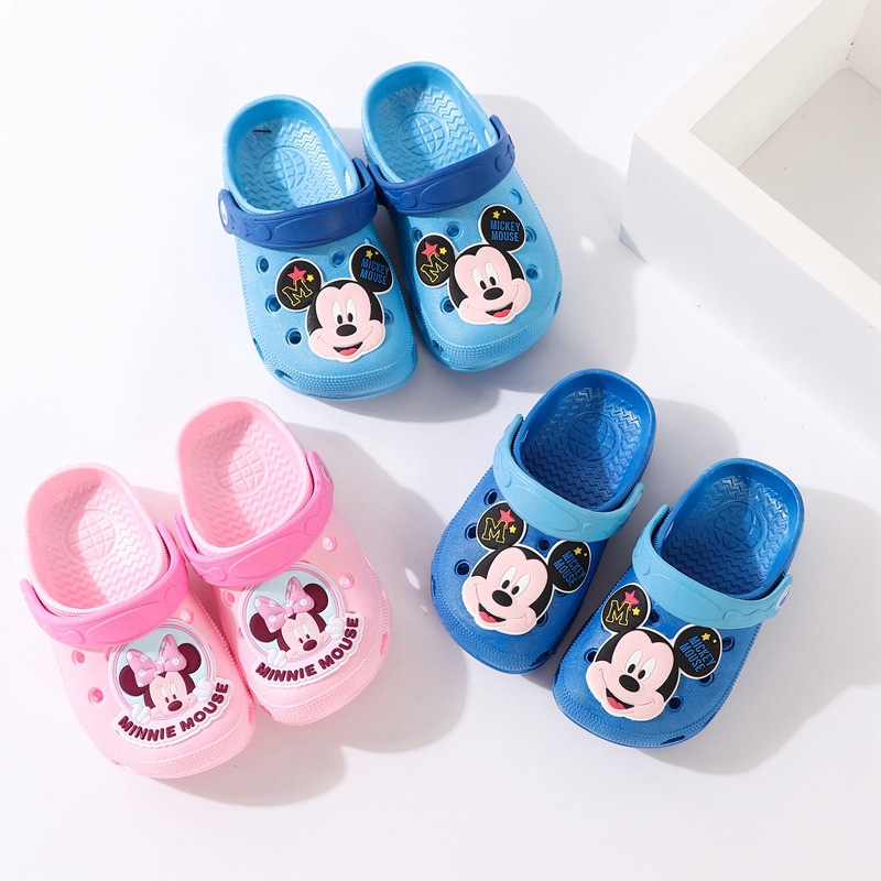 Baby Girl Boy Slippers Cute Cartoon Mickey Minnie Hole Summer Children's Slippers Casual Non-slip Children's Garden Shoes