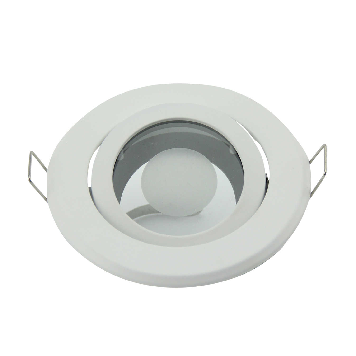 Pack x 6 recessed led downlights mr16 light fitting gu10 mr16 socket zinc alloy circle satin fitting frame