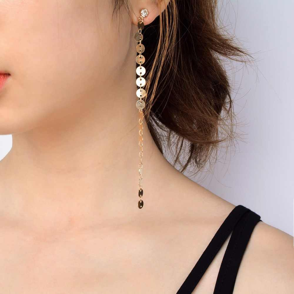 New Punk Fashion Crystal Paillettes Long Chain Tassel Drop Earring Dangle Earrings for Women Statement Jewelry