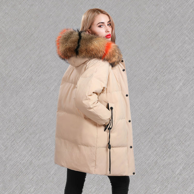 2018 Winter Thicken Woman Real Fur Coat Fashion Colorful Fur Collar Hooded Long Parka Warm Jacket Natural Fur Feminine Coat