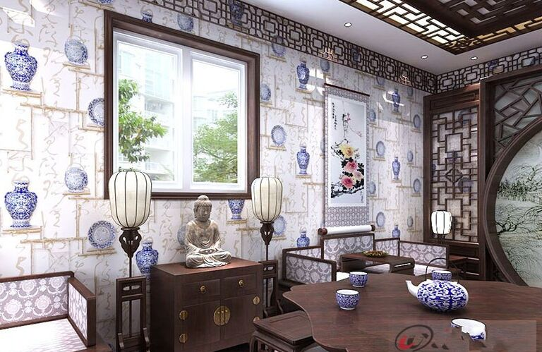 Chinese Blue and White Porcelain Wallpapers Classical Calligraphy Wall Paper for Living Room Vintage Wall Paper Roll for Walls