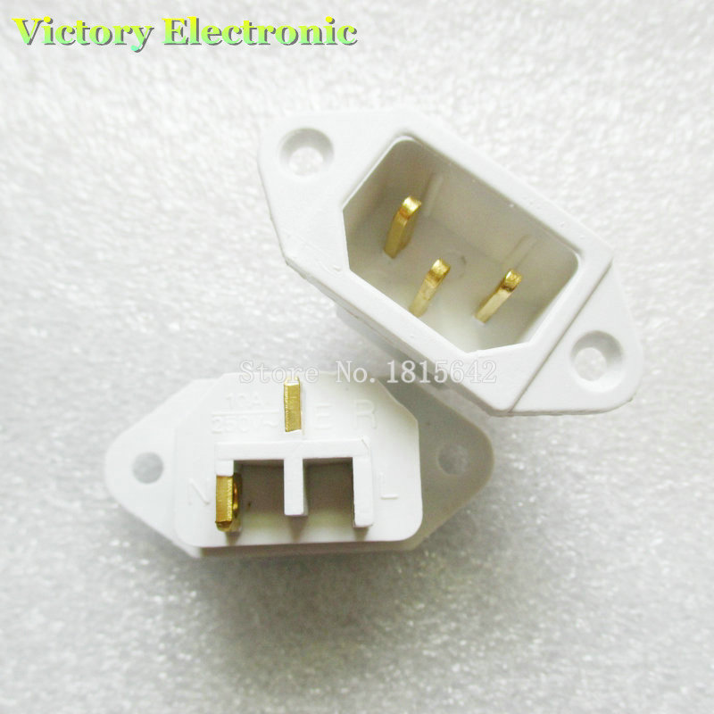 2PCS/Lot Brand New Power Supply Socket 10A 250V 3 Pins Copper Foot White Socket