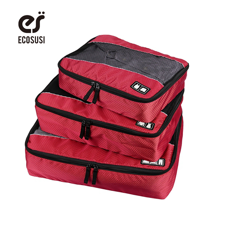 ecosusi 3pcs/set Men's Travel Bags Polyester Travel Bag Functional Clothing Packing Bag Travel Garmen Bags For Men or Women