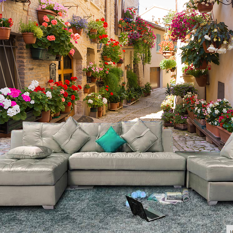 European Street Scenery Custom Mural Wallpaper Flower Full Wall Murals Printed Home Decor Photo Wallpaper 3D Visual Effect