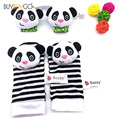 4pcs/set Baby Wrist Rattle Strap Socks Cute Donkey Monkey Panda Dog Cartoon Plush Rattle With Ring Bell Baby Soft Animal Socks