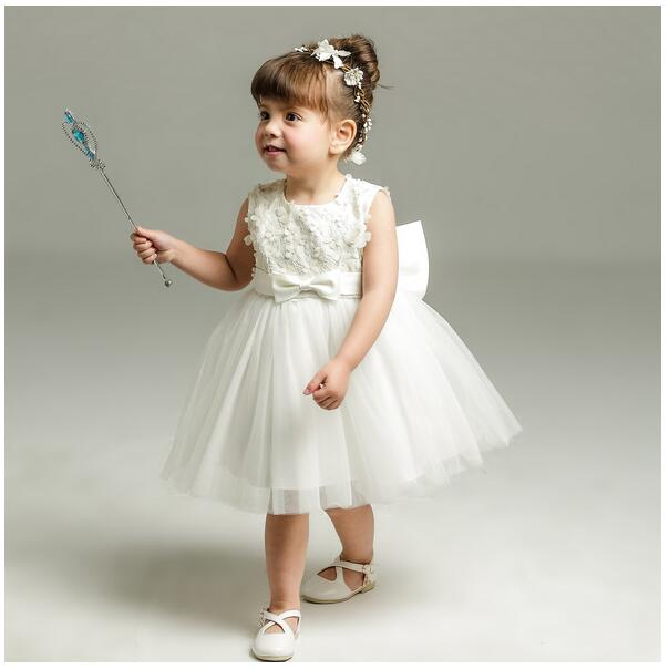 Baby Girls Pageant Formal Dress 2017 Baptism Bow Flowers Infant Girls Princess Tutu Dress Gauze Kids Birthday Wedding Dresses girls pageant formal dresses 2018 tailing floor length ball gowns flowers girls princess dress kids birthday party wedding dress