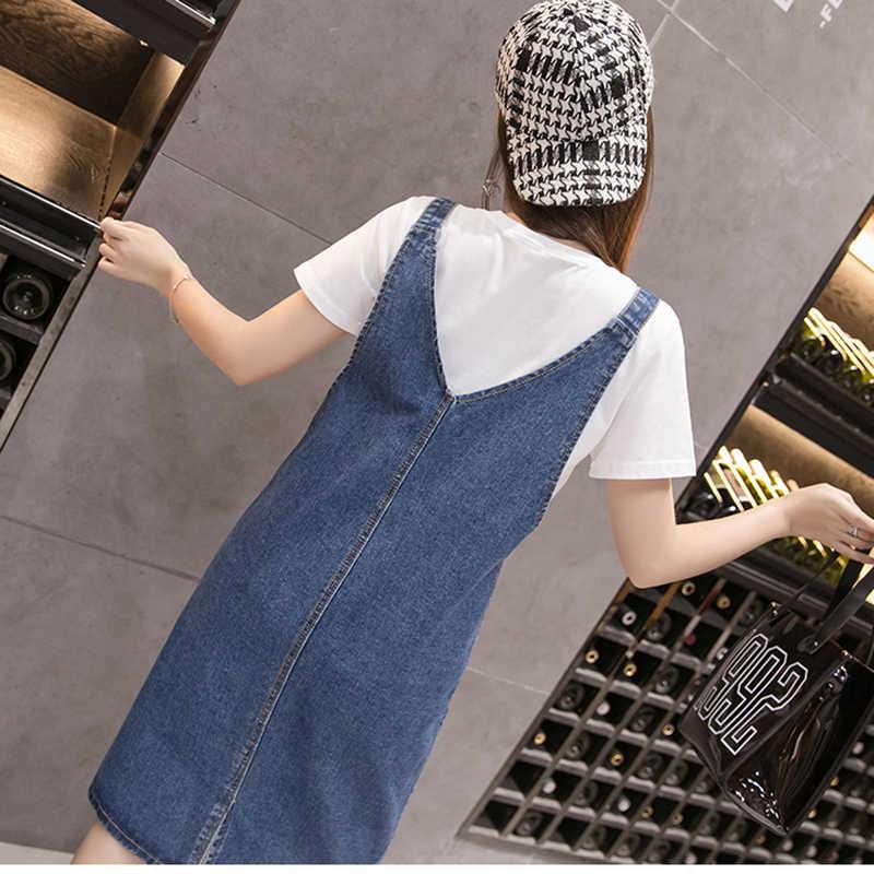 Voobuyla/плюс размер 5XL джинсовое платье на тонких бретельках с карманами женское летнее свободное джинсовое платье джинсовый сарафан джинсовый комбинезон платье новое