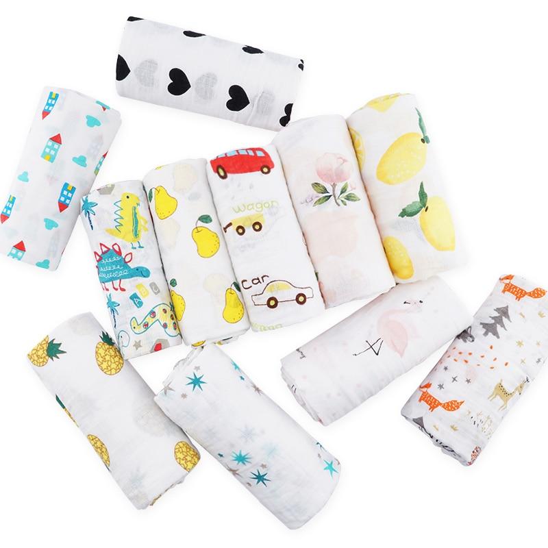 Muslinlife Cotton Baby Blanket Soft Wrap Babys, Newborn Baby Muslin Blanket 2layers, 110*110cm