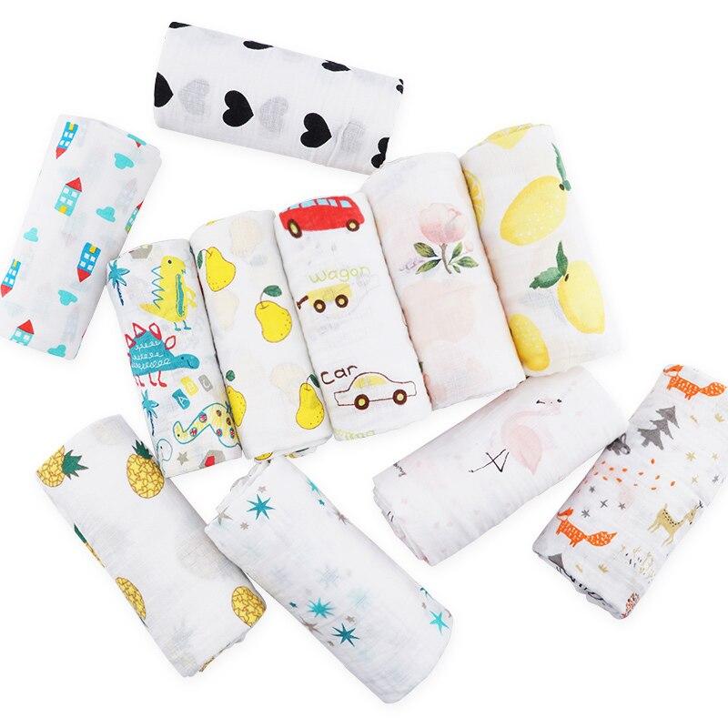 Muslinlife Cotton Baby Blanket Soft Wrap Babys, Newborn Baby Muslin Blanket 2layers, 120*120cm
