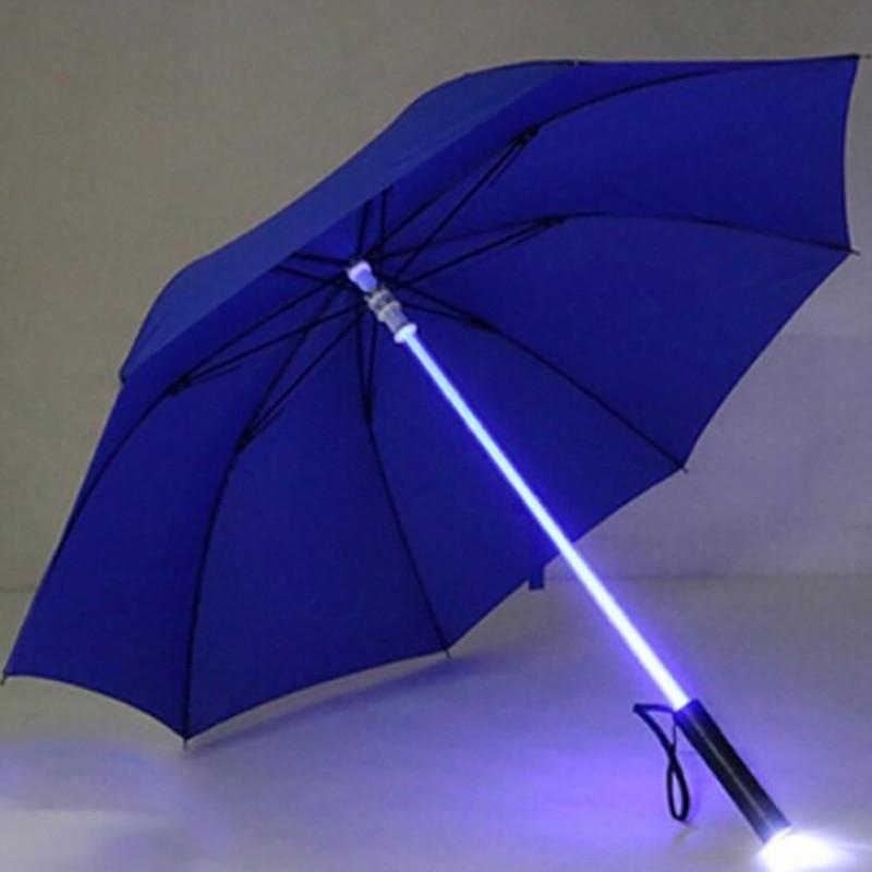 LED Light saber Light Up Umbrellas Laser sword Light up Golf Umbrellas Changing On the Shaft/Built in Torch Flash Umbrella