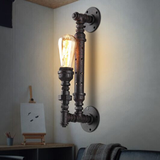 Free shipping home decoration lighting industrial water pipe ancient color iron finished edison style retro wall lamp
