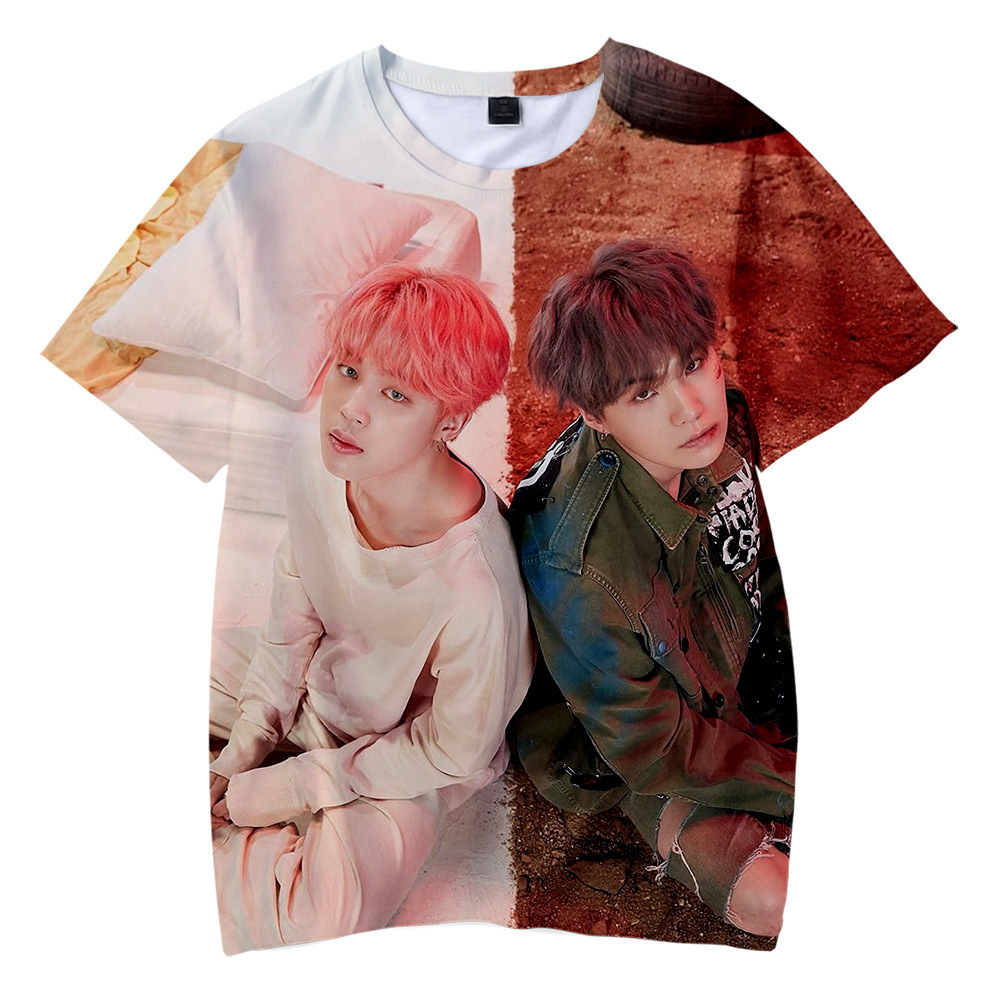 Boys T-Shirt Album Support Concert 3d-Pattern Bangtan Short-Sleeve Camiseta Fans Mujer
