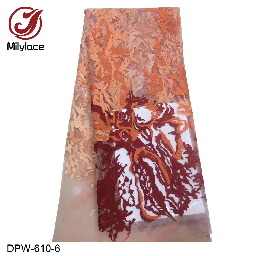Milylace 2019 tela de encaje africano con gradiente de colores 5 yardas de encaje de malla bordado de moda para los vestidos de fiesta diarios DPW 610-in encaje from Hogar y Mascotas    2