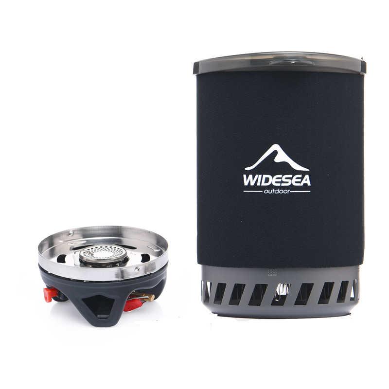 Widesea gaz ocağı kamp sobası Açık Tencere 1400 ML Isı Değiştirici Pot Pişirme Sistemi Turist Mutfak Ocak Ekipmanları