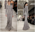 New Arrival Fall Long Sleeve Runway Grey Lace Evening Dresses Women Floor Length Formal Gowns