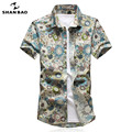 SHAN BAO brand men's cotton short-sleeved shirt sunflower flowers 2017 popular style large size casual beach shirt 16030