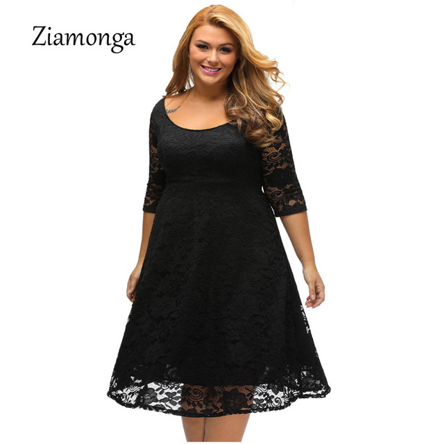 Ziamonga Women Autumn Elegant Knee Length Cocktail Party Dresses Casual  Pleated Plus Size Floral Lace Dress Vestido De Renda