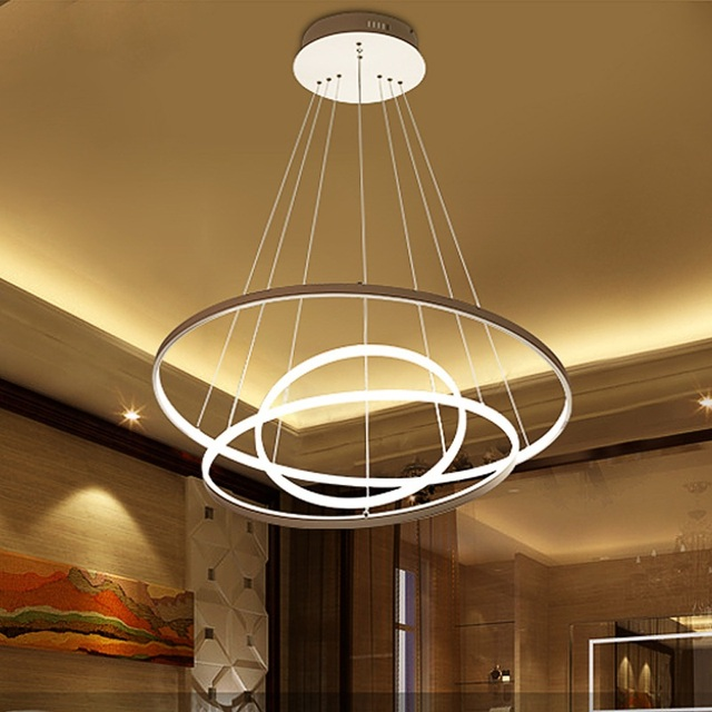 Thin section 3/2/1 ring aluminum LED ceiling lamp Home Living Room Bedroom Study Lamp Office & Commercial chandelier AC110-240V