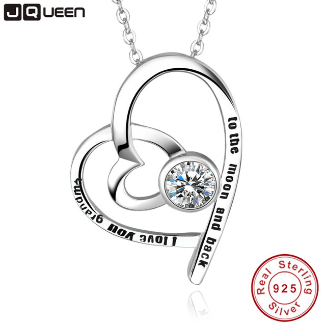 Jqueen custom name necklace personalized sterling silver love heart jqueen custom name necklace personalized sterling silver love heart aaa white cubic zirconia pendant necklace for aloadofball Images