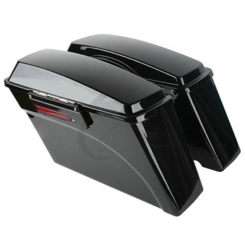Vivid Black Hard Saddlebags Saddle Bag For Harley Road King Street Glide Ultra Electra Glide 1994-2013 95 98 99 2006 2008 2012