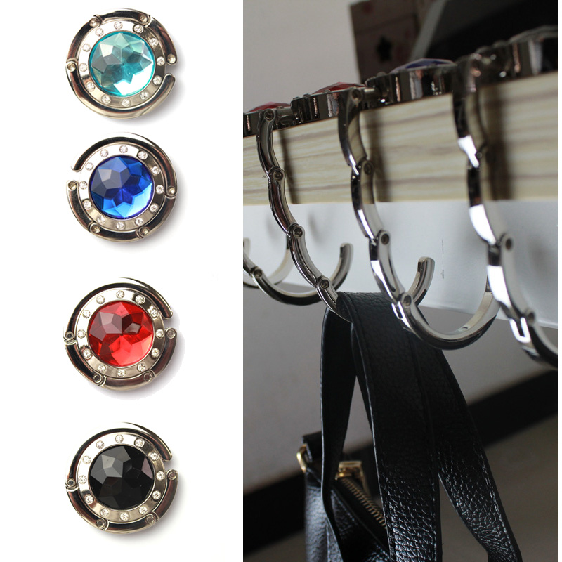 Folding Hook Bag Hanger Holder Foldable For Handbag Purse Clothing Accessories With Rhinestone Caddy Us83