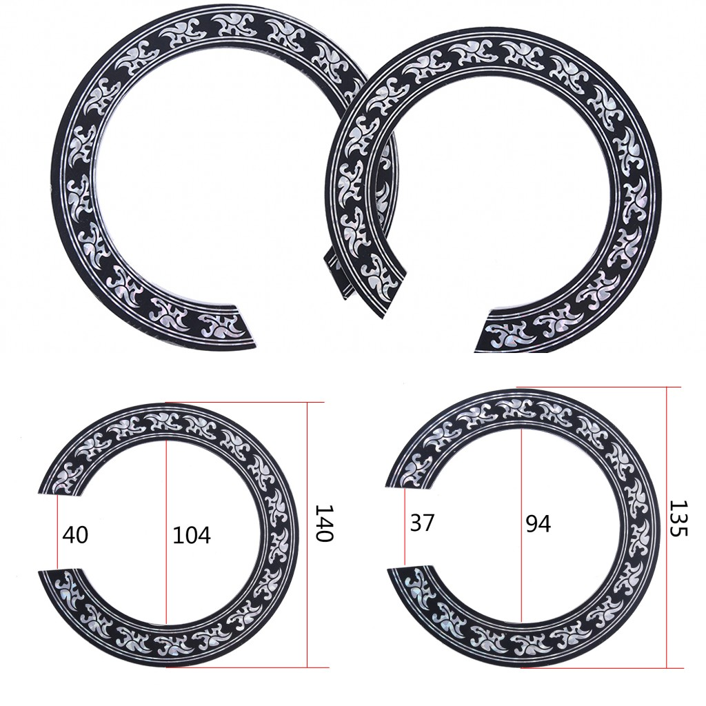 2019 New 94mm 104mm Hard PVC Guitar Circle Sound Hole Rosette Inlay For Acoustic Guitars Decal Accessories